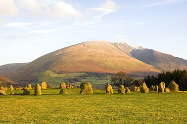 Blencathra from Castlerigg Stone Circle, Keswick, Lake District National Park, Cumbria, England, United Kingdom, Europe