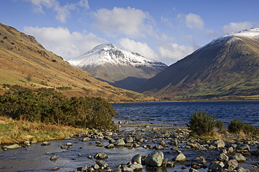 Overbeck flows into Lake Wastwater, Great Gable 2949 ft in centre, Lake District National Park, Cumbria, England, United Kingdom, Europe