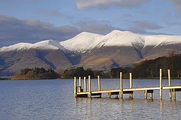 Across Lake Derwentwater to Skiddaw 3054ft, Keswick, Lake District Nationbal Park, Cumbria, England, United Kingdom, Europe