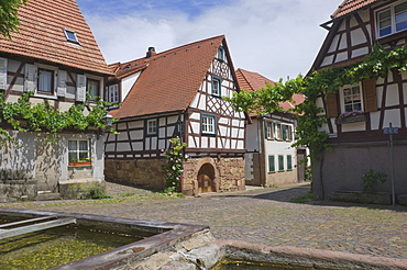 Ancient animal watering troughs in the wine village square at Gleishorbach, near Bad Bergzabern, in the Pfalz wine district, Rhineland Palatinate, Germany, Europe
