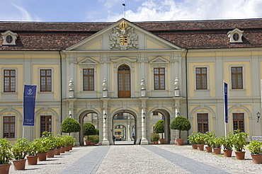 The gateway to the inner courtyard, the 18th century Baroque Residenzschloss, inspired by Versailles Palace, Ludwigsburg, Baden Wurttemburg, Germany, Europe