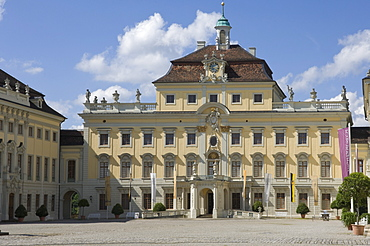 The inner Courtyard and Palace buildings of the 18th century Baroque Residenzschloss, inspired by Versailles Palace, Ludwigsburg, Baden Wurttemberg, Germany, Europe