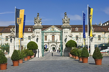 The carraige entrance to the 18th century Baroque Residenzschloss, inspired by Versailles Palace, Ludwigsburg, Baden Wurttemberg, Germany, Europe