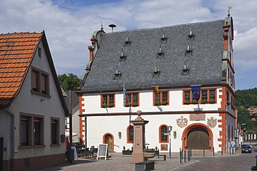 The historic 16th century Town Hall in Burgstadt, Michelstadt am Main, Bavaria, Germany, Europe