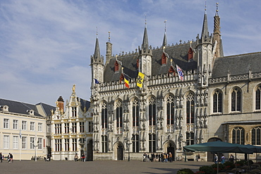 The Stadhuis (Town Hall) in the Burg square, Brugge, UNESCO World Heritage Site, Belgium, Europe