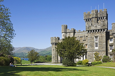 Wray Castle on the shore of Lake Windermere, a holiday home of Beatrix Potter, famous author of children's stories, Lake District National Park, Cumbria, England, United Kingdom, Europe