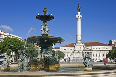 The Dom Pedro IV Monument and fountain, Rossio Square, Lisbon, Portugal, Europe