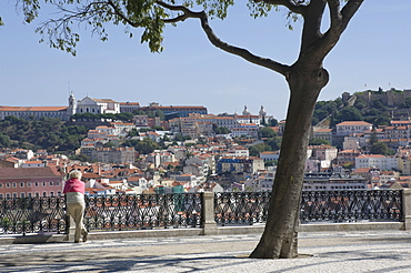 View over the rooftops from the garden at the top of the Funicular Do Gloria, Bairro Alto, Lisbon, Portugal, Europe