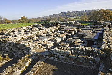 The site of the Commandants House showing supports for suspended floor system with hot air to heat rooms above, dating from AD138, Cilurnum (Chesters Roman Fort), Hadrian's Wall, UNESCO World Heritage Site, Chollerford, Northumbria National Park, England, United Kingdom, Europe