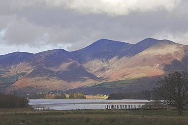 Borrowdale across Derwent Water to Skiddaw, Keswick, Lake District National Park, Cumbria, England, United Kingdom, Europe