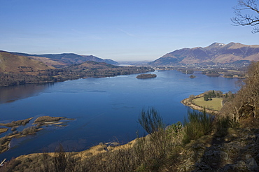 Derwent Water, Keswick, and Skiddaw Fell, from Surprise View, Lake District National Park, Cumbria, England, United Kingdom, Europe
