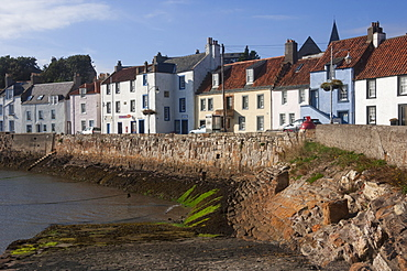 Harbour wall, low tide and pastel coloured cottages, St. Monan, East Coast, Fife, Scotland, United Kingdom, Europe