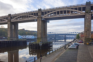 High Level Bridge, designed by Robert Stevenson in 1847, finished in 1849, structure of wrought iron, railway and road bridge across the River Tyne, and the Queen Elizabeth 2nd Metro Bridge, Tyne and Wear, England, United Kingdom, Europe