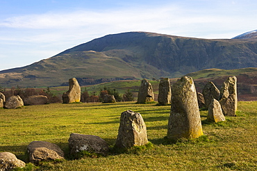 Castlerigg Stone Circle, a 40 stone circle from 3200 BC, Keswick, Lake District National Park, Cumbria, England, United Kingdom, Europe