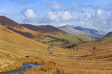 Newlands Valley with Skiddaw over Keswick in the distance, Lake District National Park, Cumbria, England, United Kingdom, Europe