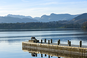Central Fells, Scawfell, and the Langdale Pikes viewed from Low Wood race cannon, across Lake Windermere, South Lakes, Lake District National Park, Cumbria, England, United Kingdom, Europe