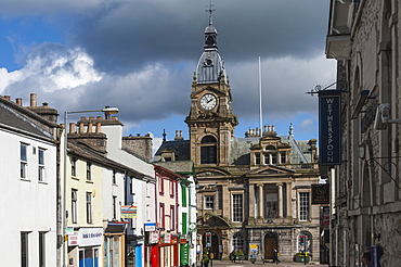 Town Hall from Allhallows Lane, Kendal, South Lakeland, Cumbria, England, United Kingdom, Europe