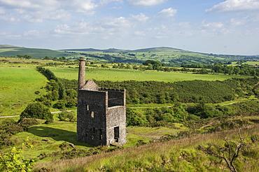 Wheal Betsy winding House, a relic of mining on Dartmoor, Mary Tavy, Dartmoor National Park, Devon, England, United Kingdom, Europe