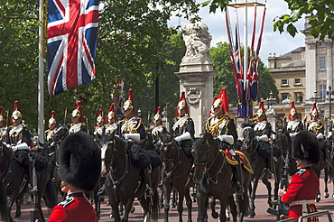 Detachment of Mounted Guard in the Mall en route to Trooping of the Colour, London, England, United Kingdom, Europe