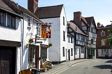 Half timbered historic properties on St. Mary Lane, Tewkesbury, Gloucestershire, England, United Kingdom, Europe