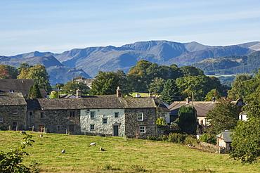 Pooley Bridge Village, Helvellyn Range beyond, Ullswater, Lake District National Park, Cumbria, England, United Kingdom, Europe