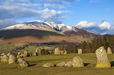 Saddleback [Blencathra], from Castlerigg Stone Circle, Lake District National Park, Cumbria, England, United Kingdom, Europe