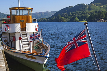 Steamer Raven at Glenridding Pier, Ullswater, Lake District National Park, Cumbria, England, United Kingdom, Europe