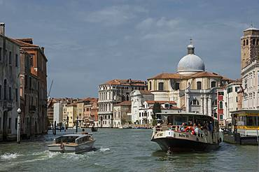 Water bus and taxi, Grand Canal at Marcuola, Venice, UNESCO World Heritage Site, Veneto, Italy, Europe