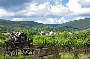 Pfalz wine area, ancient Barrel cart, Rhineland-Palatinate, Germany, Europe