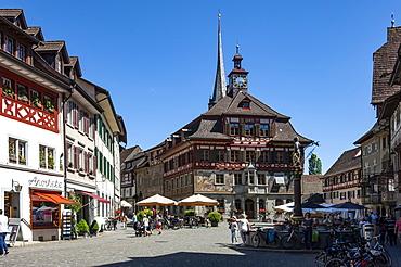 Traditional architecture, mural, street scene, Rathaus (Town Hall), Stein am Rhein, Schaffhausen, Switzerland, Europe
