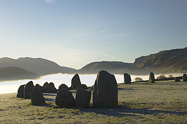 Dawn, Castlerigg Stone Circle, Helvellyn Range on horizon, Keswick, Lake District, Cumbria, England, United Kingdom, Europe