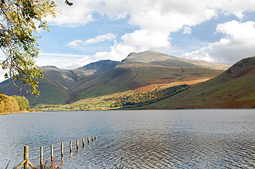 Lake Wastwater with Scafell Pike 3210ft, and Scafell 3161ft, Wasdale Valley, Lake District National Park, Cumbria, England, United Kingdom, Europe