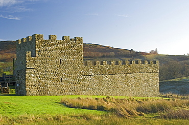 Part reconstruction of wall and tower at Roman settlement and fort at Vindolanda, UNESCO World Heritage Site, Northumbria, England, United Kingdom, Europe