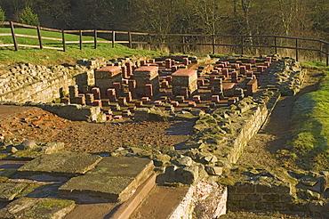 Bath house in settlement area, probably for civilian use, in Roman fort at Vindolanda, UNESCO World Heritage Site, Northumbria, England, United Kingdom, Europe