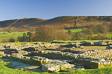 Headquarters building showing courtyard and well, Roman settlement and fort at Vindolanda, Roman Wall south, UNESCO World Heritage Site, Northumbria, England, United Kingdom, Europe