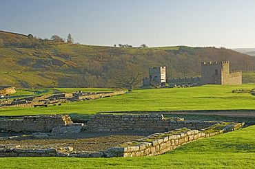 View south to reconstruction, Roman settlement and fort at Vindolanda, Roman Wall south, UNESCO World Heritage Site, Northumbria, England, United Kingdom, Europe