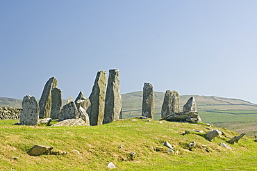 Chambered cairn dating from 2000 BC at Cairnholy near Creetown, Dumfries and Galloway, Scotland, United Kingdom, Europe
