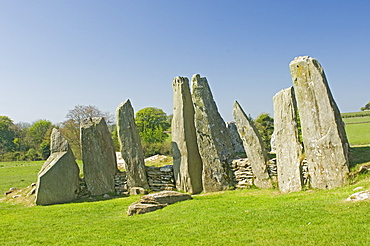 Chambered cairn at Cairnholy, the area in front of the wall and Sentinel Stones is believed to have been for worship or communal purposes, near Creetown, Dumfries and Galloway, Scotland, United Kingdom, Europe