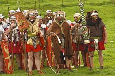 Ermine Street Guard, at ease, with Standard Bearers and Trumpeter, Birdoswald Roman Fort, Hadrians Wall, Northumbria, England, United Kingdom, Euruope
