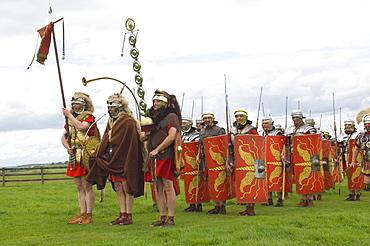 Ermine Street Guard preparing to advance, Birdoswald, Hadrians Wall, Northumbria, England, United Kingdom, Euruope