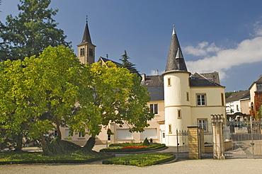 Schloss garden and gatetower, Schengen, Moselle wine route, Luxembourg, Europe