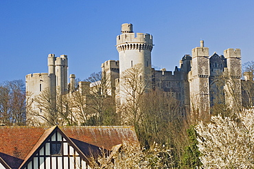 Arundel Castle, original structure built in the 11th century, seat of Roger de Montgomery, most of stone castle built between 1133 and 1189, Arundel, West Sussex, England, United Kingdom, Europe