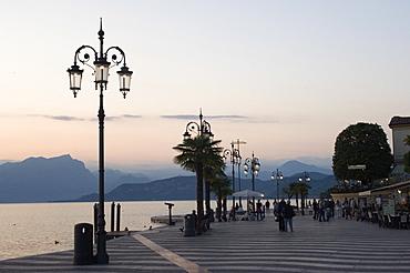 Lakeside evening at Lazise, Lake Garda, Veneto, Italy, Europe