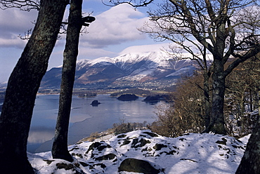 Derwentwater and Skiddaw in winter, Lake District National Park, Cumbria, England, United Kingdom, Europe