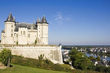 The Chateau de Saumur overlooking the River Loire and city, Maine-et-Loire, Pays de la Loire, France, Europe
