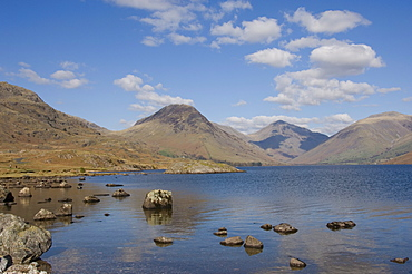 Yewbarrow, Great Gable and Lingmell seen across Wastwater, Wasdale, Lake District National Park, Cumbria, England, United Kingdom, Europe