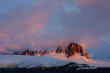 Sunset at Port Lockroy, Antarctic Peninsula, Antarctica, Polar Regions
