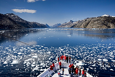 Ship in drift ice, Prince Christian Sund, Greenland, Arctic, Polar Regions