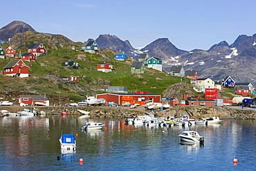 Harbour and village, Ammassalik, Greenland, Arctic, Polar Regions