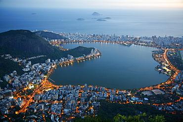 View of Lagoa Rodrigo de Freitas lake, Rio de Janeiro, Brazil, South America